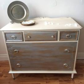 silver and gold dresser